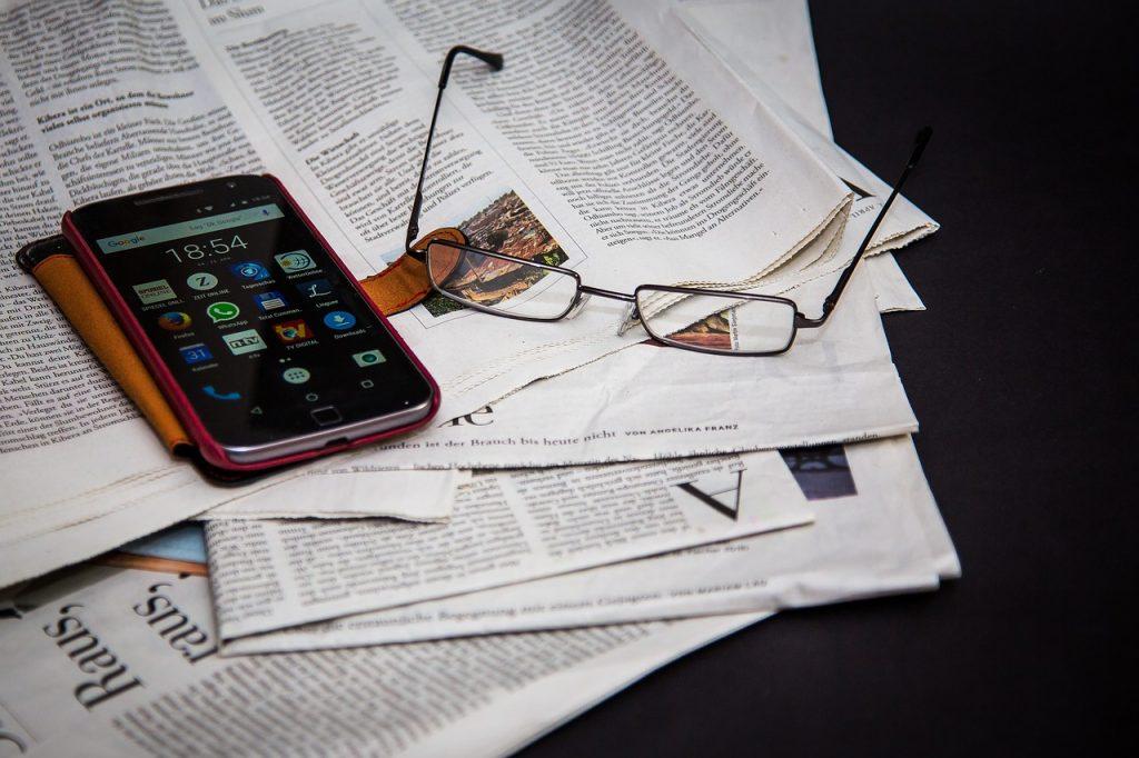 newspaper, read, information