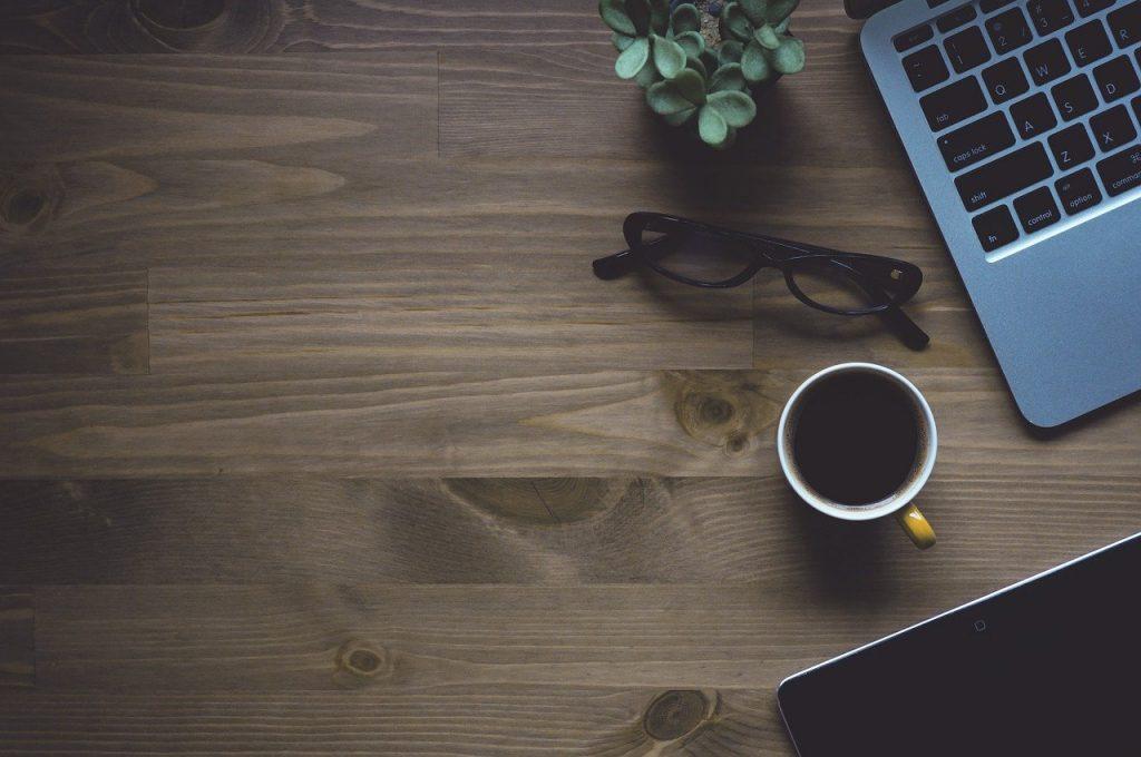 workspace, coffee, laptop