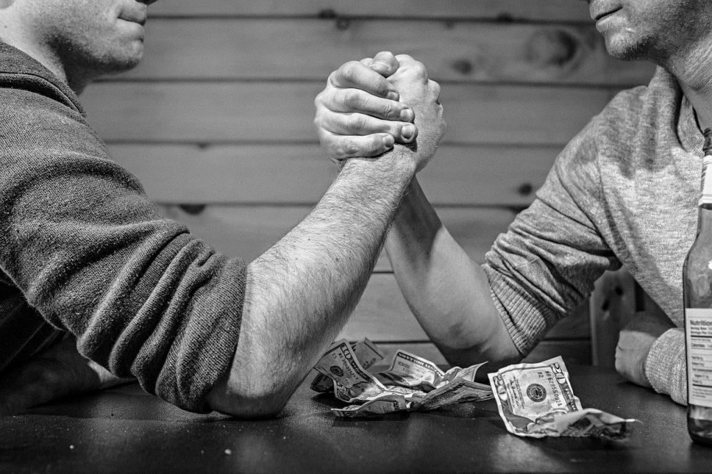 arm wrestling, bet, monochrome