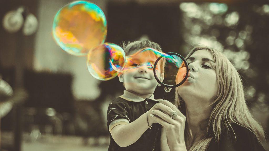 mother, son, bubbles