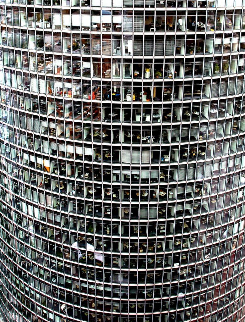 skyscraper, glass facade, offices